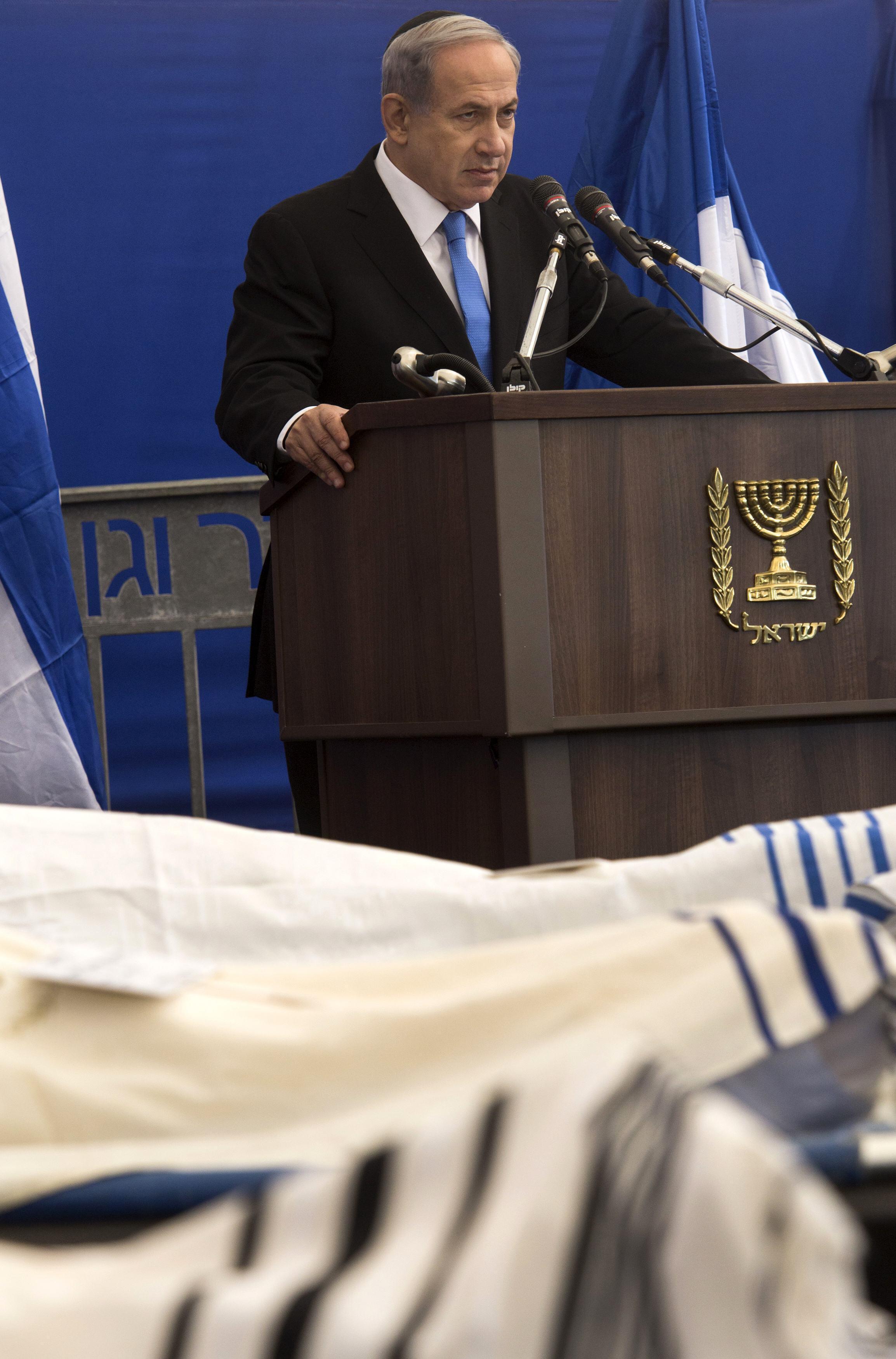 سخنرانی بنیامین نتانیاهو، نخست وزیر اسرائیل، در مراسم خاکسپاری جسد ٤ یهودی فرانسوی که در سوءقصد تروریستی در پاریس کشته شدند. اورشلیم ٢٣ دیماه/ ١٣ ژانویه ٢٠١۵ .