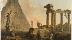 Hubert ROBERT (1733-1808) Ruines romaines, 1776. Huile sur toile, 49 x 74 cm