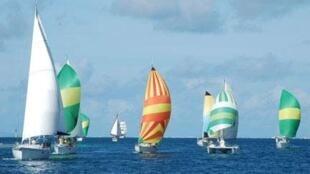 Voiliers de la Tahiti Pearl Regatta.