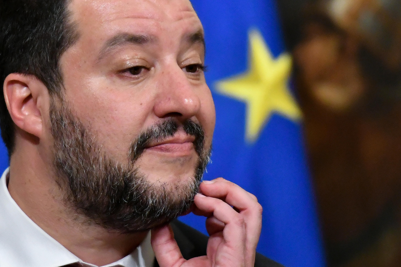 Le ministre de l'Intérieur italien Matteo Salvini lors d'une conférence de presse à Rome, le 17 janvier 2019.