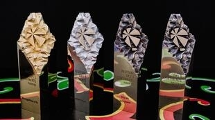 The trophies for the Three Continents Flim Festival