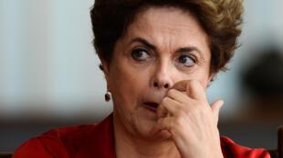 La présidente suspendue Dilma Rousseff au palais de l'Aurore, la résidence présidentielle, le 18 août 2016, à Brasilia.