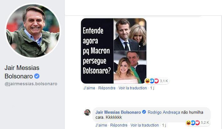 Jair Bolsonaro endossou um comentário de um internauta no Facebook, que zombava da mulher de Macron