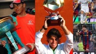 Da esquerda para direita: Hamilton, Nadal, Cristiano Ronaldo e Messi