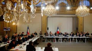 Le débat avec les intellectuels à l'Elysée, le 18 mars 2019.