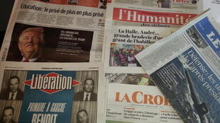 Primeiras páginas dos jornais franceses de 6 de janeiro de 2017