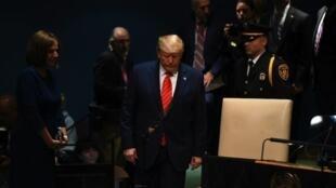 Donald Trump kwenye Mkutano Mkuu wa Umoja wa Mataifa, Septemba 24, 2019.