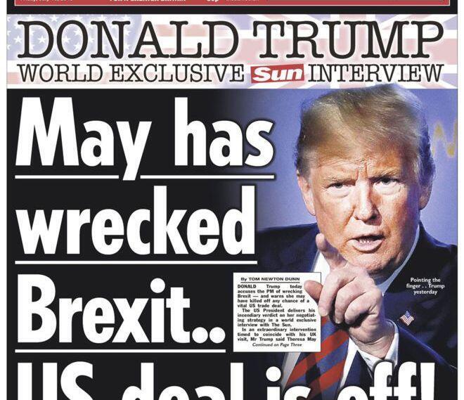 Capa do Sun, tablóide ao qual Trump deu uma entrevista bombástica durante a sua visita à Grã-Bretanha.