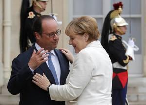 Shugaban Faransa Francois Hollande da Waziriyar Jamus Angela Merkel