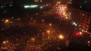 Ambiance de fête sur la place Tahrir, le 18 février 2011.