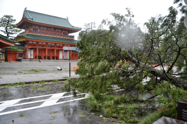 O tufão Jebi, considerado o mais violento a atingir o Japão em 25 anos, chegou nesta terça-feira (4) ao centro-oeste do arquipélago.