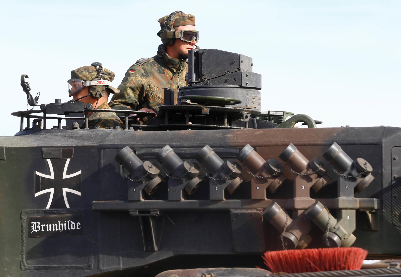 Des soldats allemands lors d'un exercice de l'Otan en Lituanie, le 17 mai 2017.