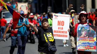 Protesto pró-governo nas ruas de Caracas em 06/04/19