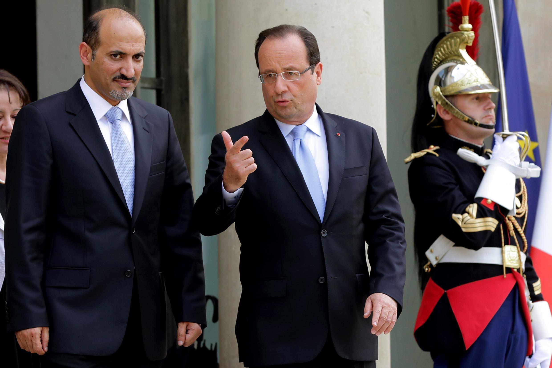 French President François Hollande with FSC leader  Ahmad Jarba  at the Elysée