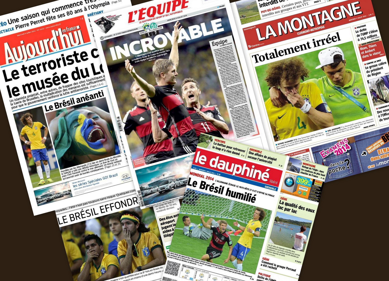 Capa dos jornais franceses que destacam a vitória da Alemanha por 7 x 1.
