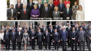 Importante presencia de mujeres en el Gobierno español de Rodríguez Zapatero (2009) en comparación con la ínfima presencia femenina en el Gobierno francés de 2009.