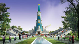 The future Vrindavan Chandrodaya temple