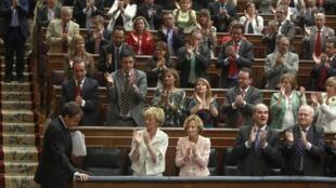 José Luis Rodriguez Zapatero après son discours devant les parlementaires espagnols, à Madrid, le 14 juillet 2010.