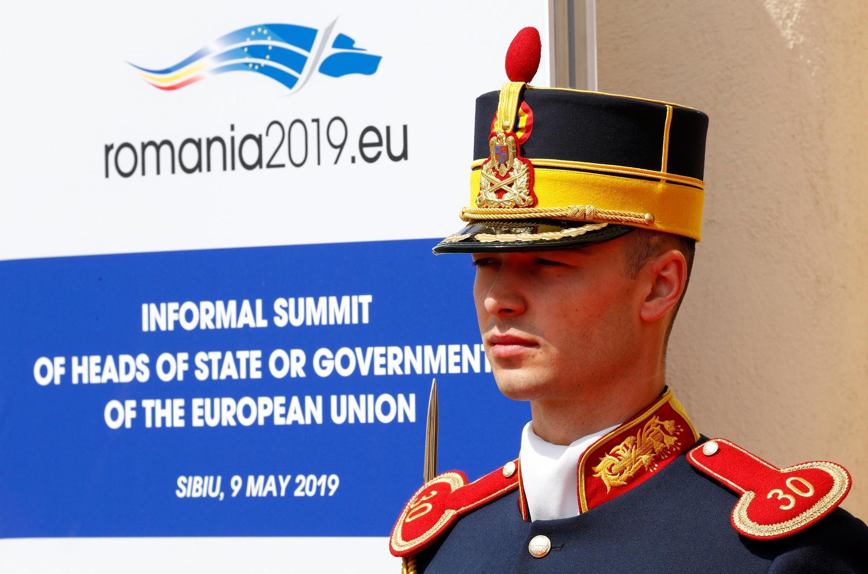 Lính gác trước cuộc họp thượng đỉnh châu Âu tại Sibiu, Roumani. Ảnh ngày 09/05/2019.