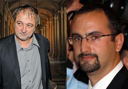 Denis Robert et Florian Bourges, au palais de justice de Paris, le 21 septembre 2009.