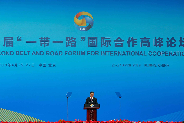 中国国家主席习近平 2019年4月26日 周五 北京 Chine: Le président chinois Xi Jinping lors de son discours d'inauguration du deuxième forum « Ceinture et routes » à Pékin. Vendredi 26.04.2019