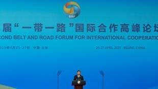 Le président chinois Xi Jinping lors de son discours d'inauguration du deuxième forum «Ceinture et routes» à Pékin.
