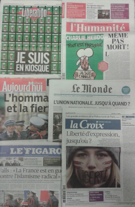 Imprensa parisiense do dia 14.1.2015