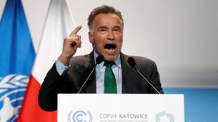 L'acteur Arnold Schwarzenegger, lors de la 24ème conférence COP24 à Katowice (Pologne), le 3 décembre 2018.