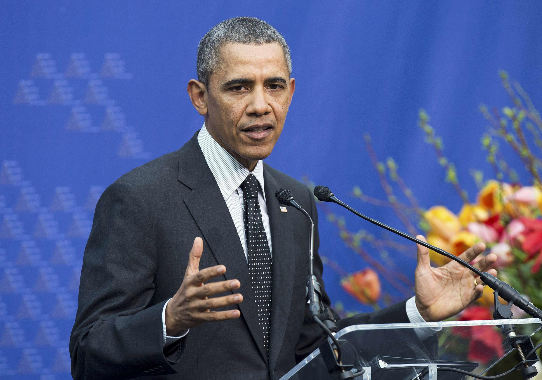 Барак Обама на пресс-конференции после саммита по ядерной безопасности в Гааге 25/03/2014