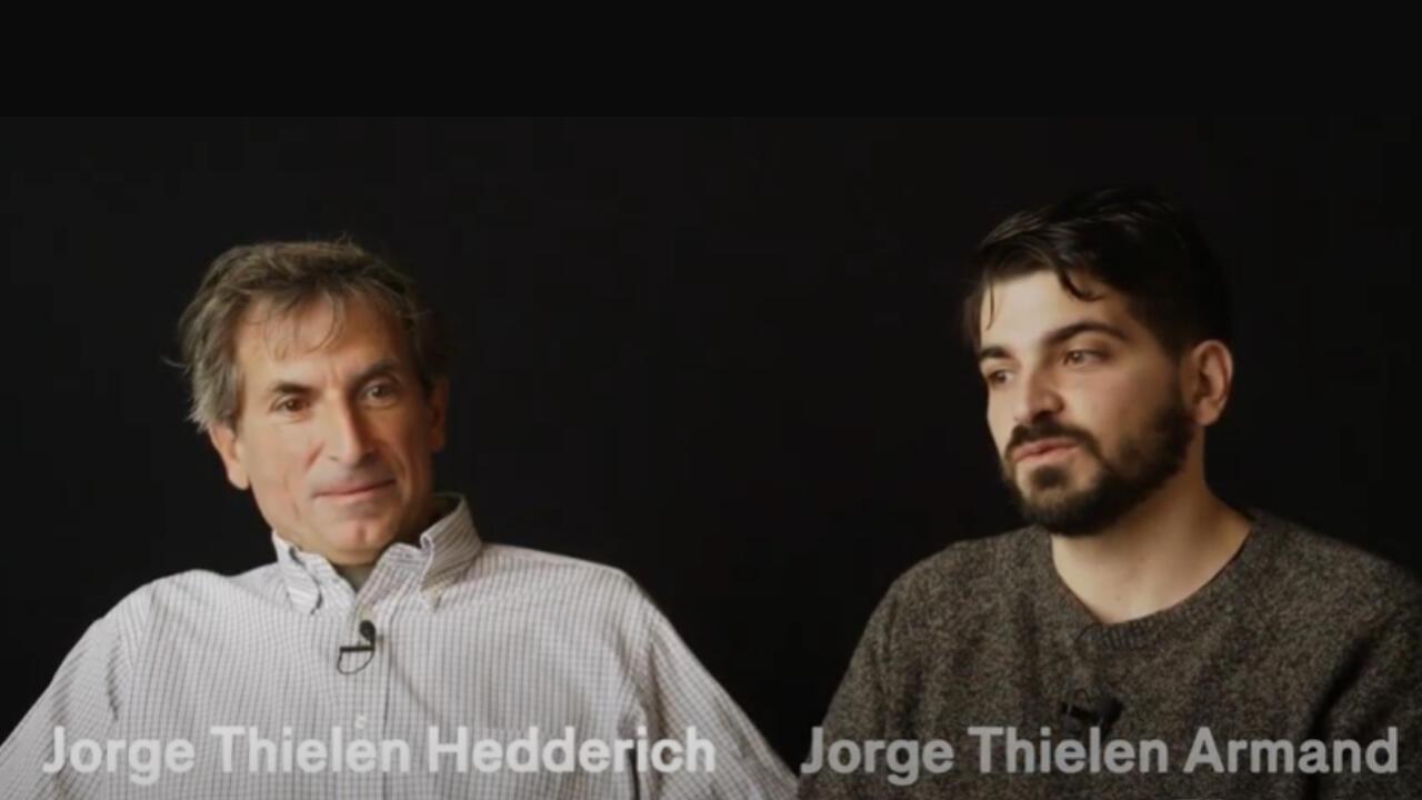 Jorge Roque Thielen, que interpreta o papel principal  e o seu filho, o cineasta Jorge Thielen Armand