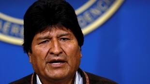 Bolivia's President Evo Morales addresses the media at the presidential hangar in the Bolivian Air Force terminal in El Alto, Bolivia, November 10, 2019.