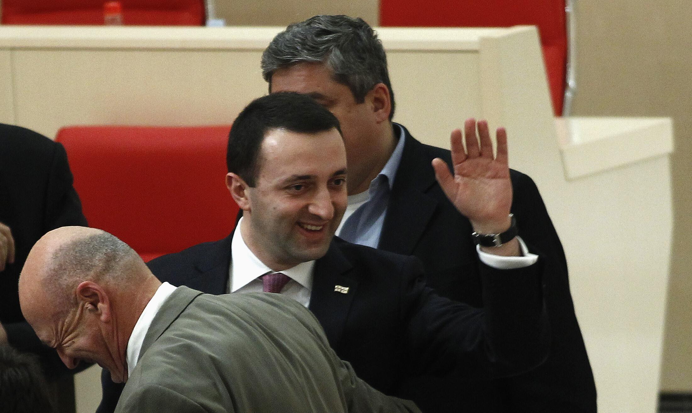 Новый премьер-министр Грузии Ираклий Гарибашвили после заседания парламента в Кутаиси 20/11/2013