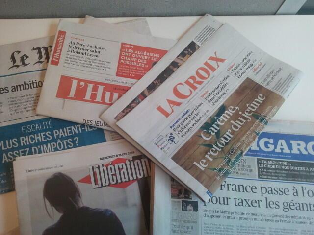 Primeiras páginas dos jornais franceses de 06 de março de 2019
