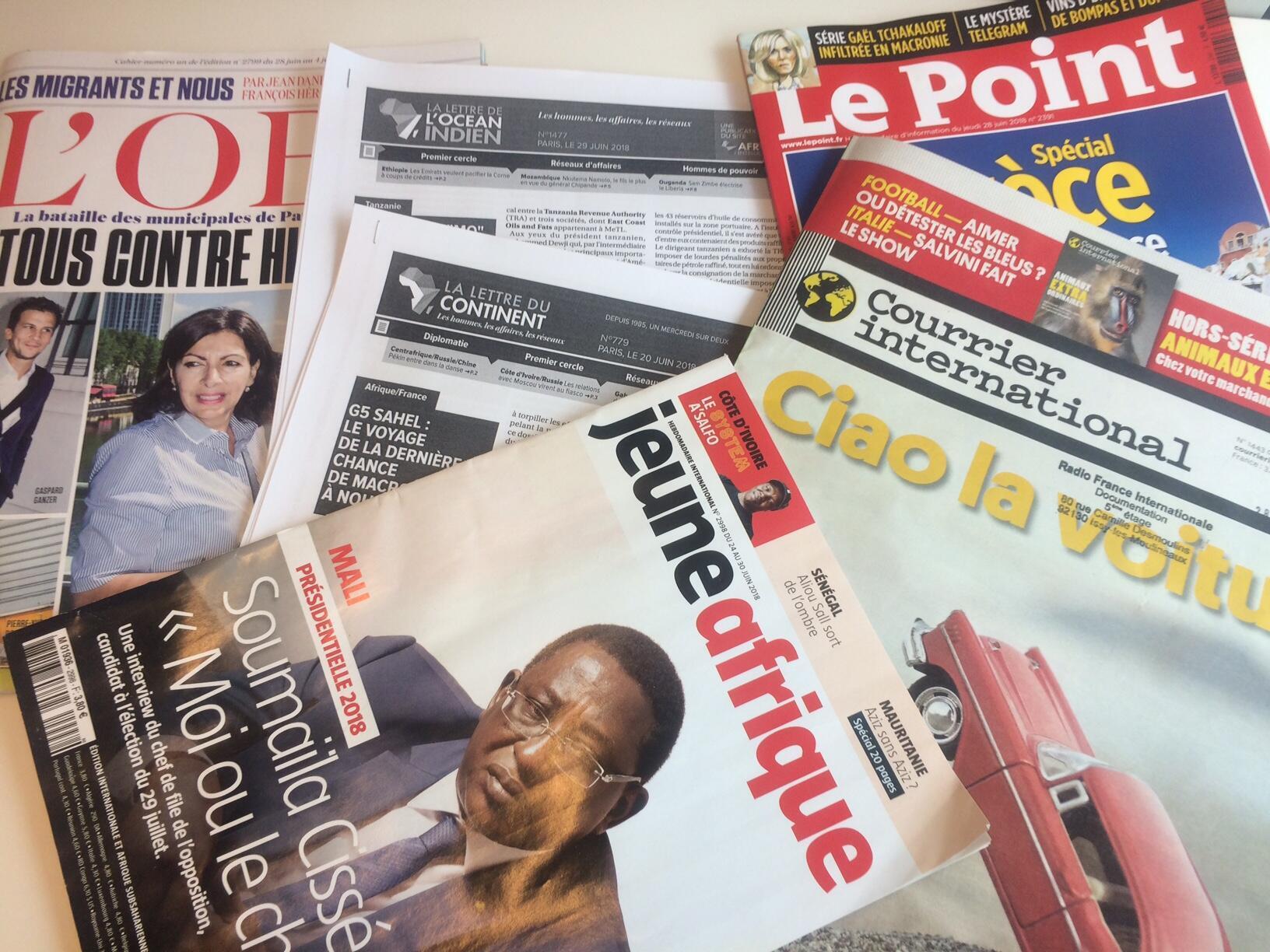 Capas de semanários sobre actualidade africana e mundial de 30/06/2018