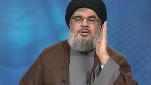 Hassan Nasrallah lors de son intervention diffusée sur al-Manar, la chaîne de son parti le Hezbollah, le 24 juin 2011.