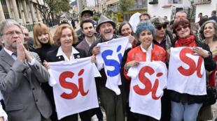 Actores colombianos a favor del 'Sí' a la firma de la paz, el pasado 7 de septiembre de 2016 en Bogotá.