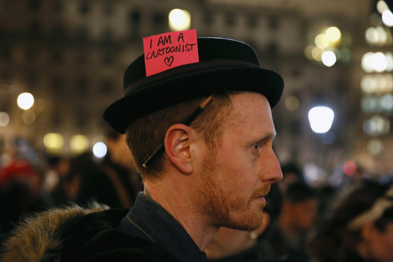 A Trafalgar square, le 7 janvier dans la soirée, lors d'une veillée de soutien à Charlie Hebdo
