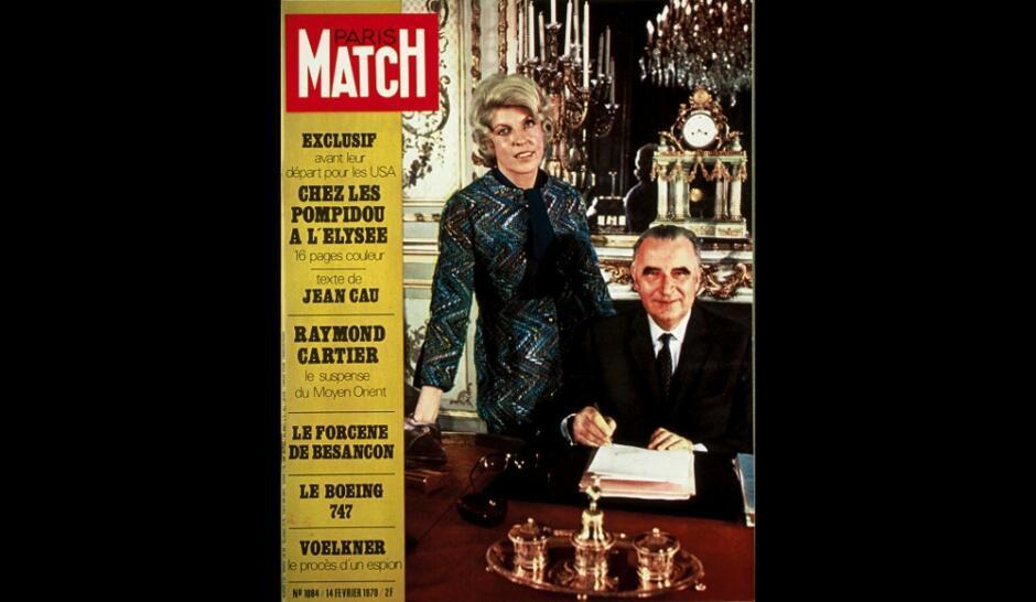 Ảnh bìa Paris Match : Georges và Claude Pompidou, cặp vợ chồng tổng thống đầu tiên phơi bày cuộc sống riêng tư tại điện Elysée (DR)