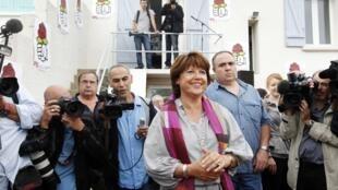 La première secrétaire du Parti socialiste Martine Aubry à La Rochelle le 26 août le 2010.