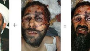 A montagem com a suspota foto de Bin Laden.
