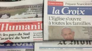 Primeira páginas dos diários franceses de 26/10/2015