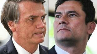 Presidente do Brasil Jair Bolsonaro (esq) e seu antigo ministro da justiça Sérgio Moro (dir) ouvido no sábado, (2/05) durante 8 horas no tribunal federal de Curitiba.