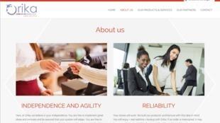 La page d'accueil du site Internet de la start-up Orika, développée sur l'ile de La Réunion et qui s'attaque au marché africain, le 14 octobre 2018.