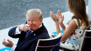 圖為美國總統特朗普與夫人梅蘭妮應邀出席法國國慶閱兵儀式