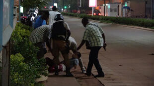 One of the injured is evacuated during the Ouagadougou attack
