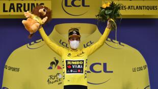 Le Slovène Primoz Roglic (Jumbo) a pris le maillot jaune à l'issue de la 9e étape à Laruns, le 6 septembre 2020
