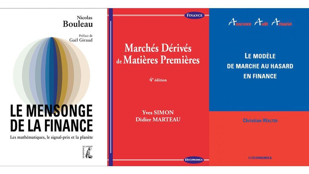 Couverture des livres de Nicolas Bouleau, de Didier Marteau & Yves Simon et de Christian Walter.