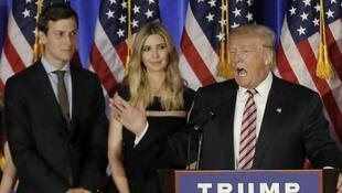 美国总统特朗普与大女儿、女婿资料图片