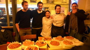 Pastry chef Julie Myrtille (centre) with members of Le Carillon