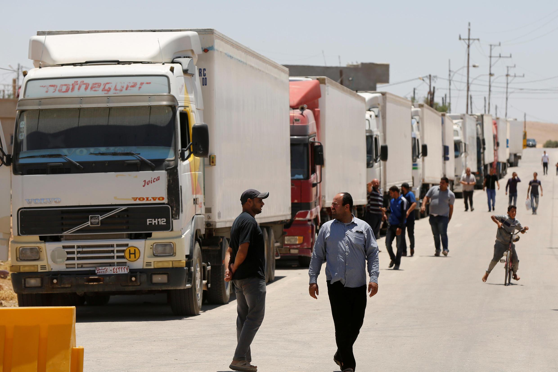Camions d'aide humanitaire entrant en Syrie le 1er juillet 2018 (image d'illustration).